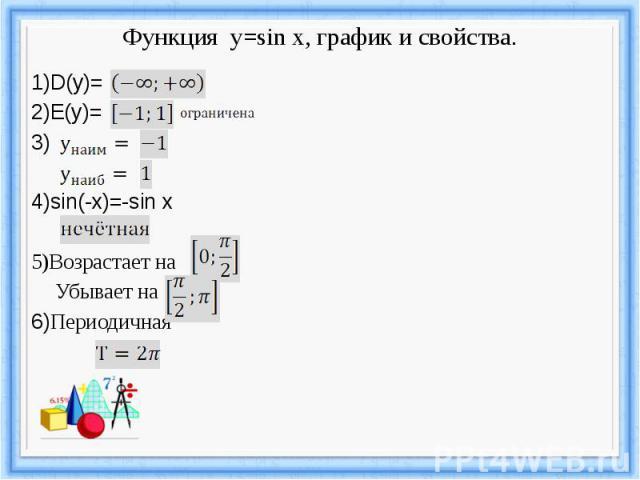 Функция y=sin x, график и свойства.
