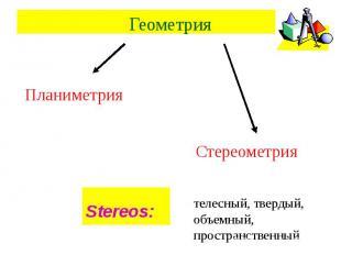 Геометрия ПланиметрияСтереометрия Stereos: телесный, твердый, объемный, простран
