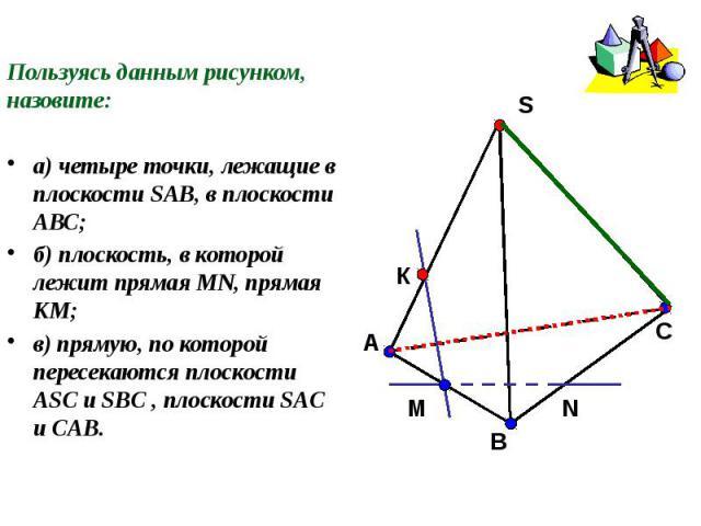 Пользуясь данным рисунком, назовите:а) четыре точки, лежащие в плоскости SAB, в плоскости АВС;б) плоскость, в которой лежит прямая MN, прямая КМ;в) прямую, по которой пересекаются плоскости ASC и SBC , плоскости SAC и CAB.