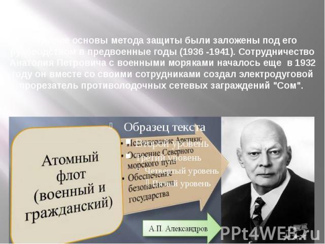 Научные основы метода защиты были заложены под его руководством в предвоенные годы (1936 -1941). Сотрудничество Анатолия Петровича с военными моряками началось еще в 1932 году он вместе со своими сотрудниками создал электродуговой прорезатель против…
