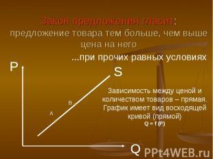 Закон предложения гласит:предложение товара тем больше, чем выше цена на него...