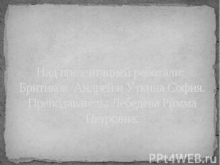 Над презентацией работали: Бритиков Андрей и Уткина София.Преподаватель: Лебедев
