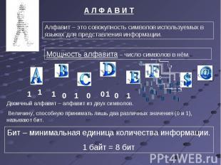 А Л Ф А В И ТАлфавит – это совокупность символов используемых в языках для предс