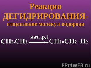 Реакция ДЕГИДРИРОВАНИЯ- отщепление молекул водорода кат.,p,tСН3-СН3 СН2=СН2 +Н2