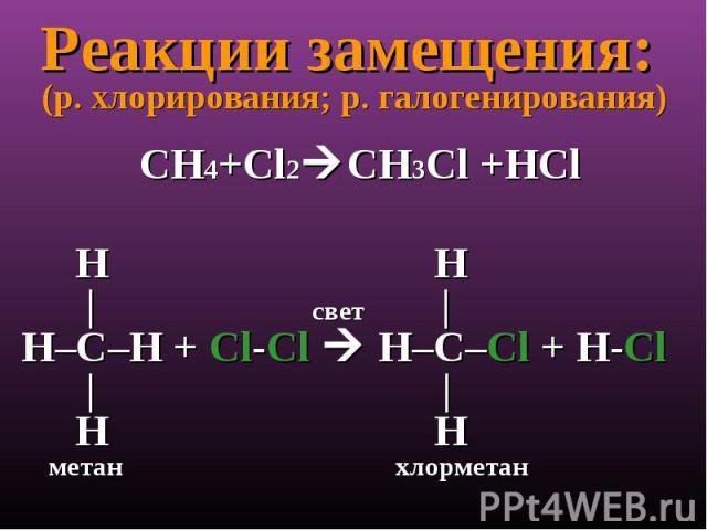 Реакции замещения: (р. хлорирования; р. галогенирования)