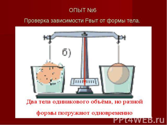ОПЫТ №6 Проверка зависимости Fвыт от формы тела.