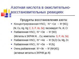 Азотная кислота в окислительно-восстановительных реакциях Продукты восстановлени