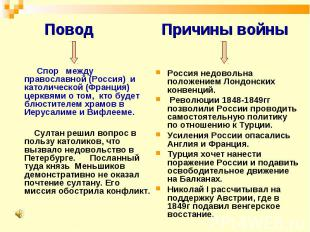 Повод Спор между православной (Россия) и католической (Франция) церквями о том,