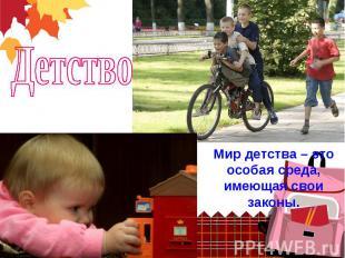 ДетствоМир детства – это особая среда, имеющая свои законы.