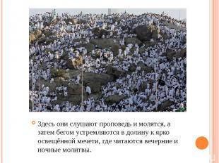 Здесь они слушают проповедь и молятся, а затем бегом устремляются в долину к ярк