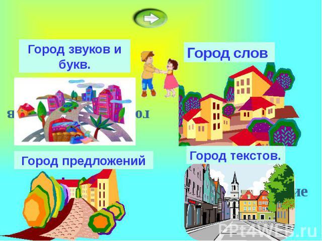 Город звуков и букв.Город предложенийГород словГород текстов.