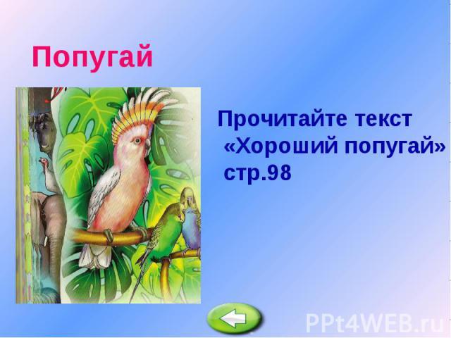 Попугай Прочитайте текст «Хороший попугай» стр.98