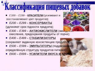 Классификация пищевых добавок Е100 – Е199 – КРАСИТЕЛИ (усиливают и восстанавлива