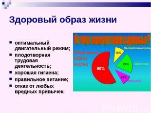 Здоровый образ жизни оптимальный двигательный режим; плодотворная трудовая деяте