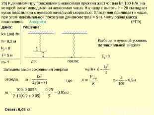 20) К динамометру прикреплена невесомая пружина жесткостью k= 100 Н/м, на которо