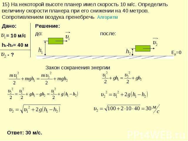 15) На некоторой высоте планер имел скорость 10 м/с. Определить величину скорости планера при его снижении на 40 метров. Сопротивлением воздуха пренебречь Алгоритм