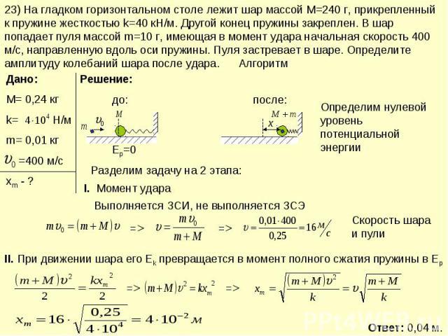 23) На гладком горизонтальном столе лежит шар массой М=240 г, прикрепленный к пружине жесткостью k=40 кН/м. Другой конец пружины закреплен. В шар попадает пуля массой m=10 г, имеющая в момент удара начальная скорость 400 м/с, направленную вдоль оси …