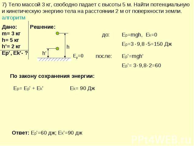 7) Тело массой 3 кг, свободно падает с высоты 5 м. Найти потенциальную и кинетическую энергию тела на расстоянии 2 м от поверхности земли. алгоритм
