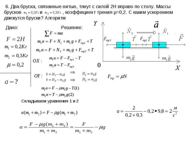 6. Два бруска, связанные нитью, тянут с силой 2Н вправо по столу. Массы брусков и , коэффициент трения µ=0,2. С каким ускорением движутся бруски? Алгоритм