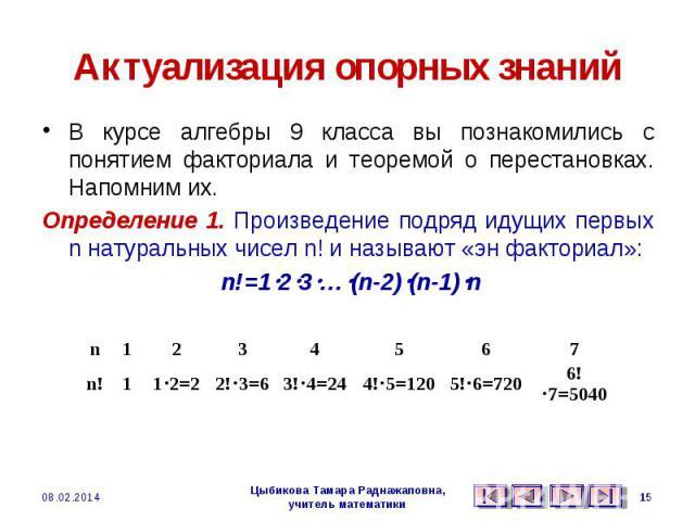 Актуализация опорных знаний В курсе алгебры 9 класса вы познакомились с понятием факториала и теоремой о перестановках. Напомним их.Определение 1. Произведение подряд идущих первых n натуральных чисел n! и называют «эн факториал»: n!=123…(n-2)(n-1)n