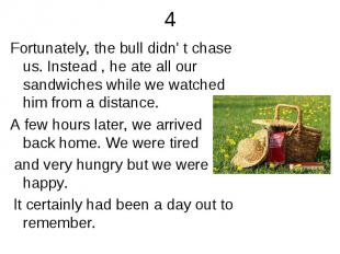 4 Fortunately, the bull didn' t chase us. Instead , he ate all our sandwiches wh
