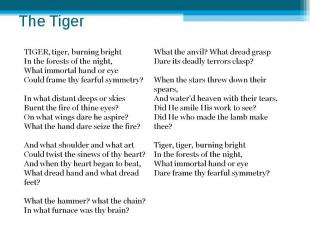 The Tiger TIGER, tiger, burning brightIn the forests of the night,What immorta