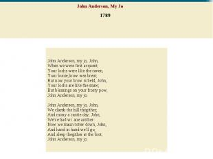 John Anderson, My Jo 1789 John Anderson, my jo, John,When we were first acquent