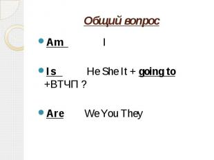 Общий вопрос Am IIs He She It + going to +ВТЧП ?Are We You They
