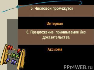 5. Числовой промежуток Интервал6. Предложение, принимаемое без доказательства Ак