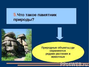 5.Что такое памятник природы? Природные объекты,где охраняются редкие растения и