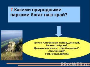 7.Какими природными парками богат наш край?Волго-Ахтубинская пойма, Донской, Ниж