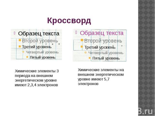 Кроссворд Химические элементы 3 периода на внешнем энергетическом уровне имеют 2,3,4 электроновХимические элементы на внешнем энергетическом уровне имеют 5,7 электронов