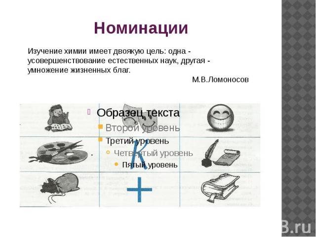 Номинации Изучение химии имеет двоякую цель: одна - усовершенствование естественных наук, другая - умножение жизненных благ. М.В.Ломоносов