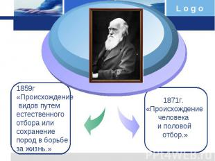 1859г «Происхождение видов путем естественного отбора или сохранение пород в бор