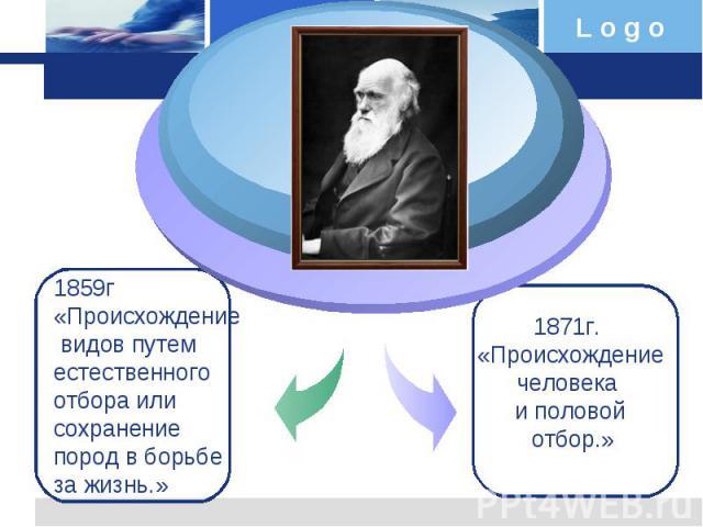 1859г «Происхождение видов путем естественного отбора или сохранение пород в борьбе за жизнь.»1871г. «Происхождение человека и половой отбор.»