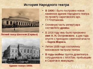 История Народного театра В 1906 г. было построено новое каменное здание Народног