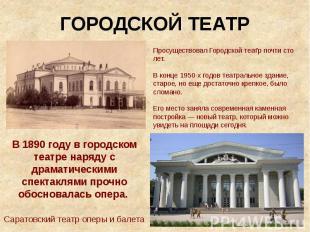 ГОРОДСКОЙ ТЕАТР Просуществовал Городской театр почти сто лет. В конце 1950-х год