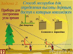 Задача 2.Приборы дляпостроенияугла зренияСпособ лесорубов дляопределения высоты