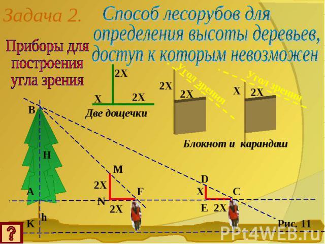 Задача 2.Приборы дляпостроенияугла зренияСпособ лесорубов дляопределения высоты деревьев,доступ к которым невозможен