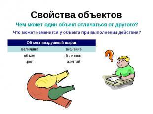 Свойства объектов Чем может один объект отличаться от другого?Что может изменитс