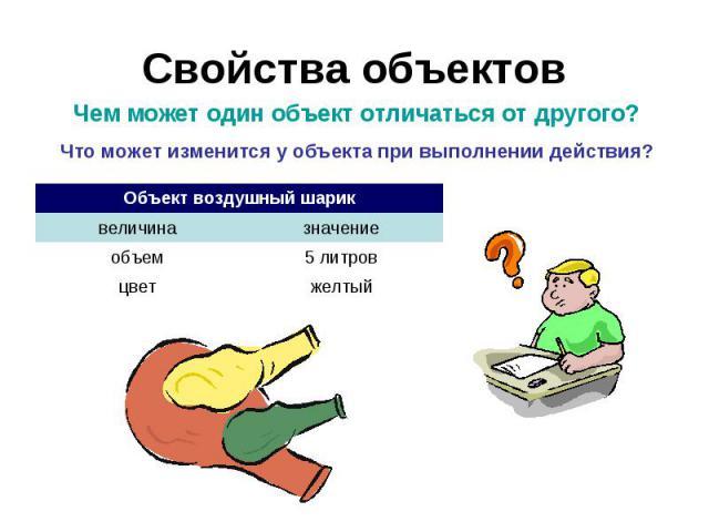 Свойства объектов Чем может один объект отличаться от другого?Что может изменится у объекта при выполнении действия?