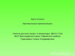 Урок в 6 классеПритяжательные прилагательные Учитель русского языка и литературы