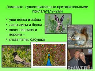 Замените существительные притяжательными прилагательными уши волка и зайца – лап