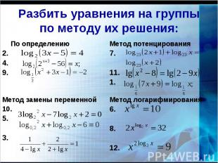 Разбить уравнения на группы по методу их решения: