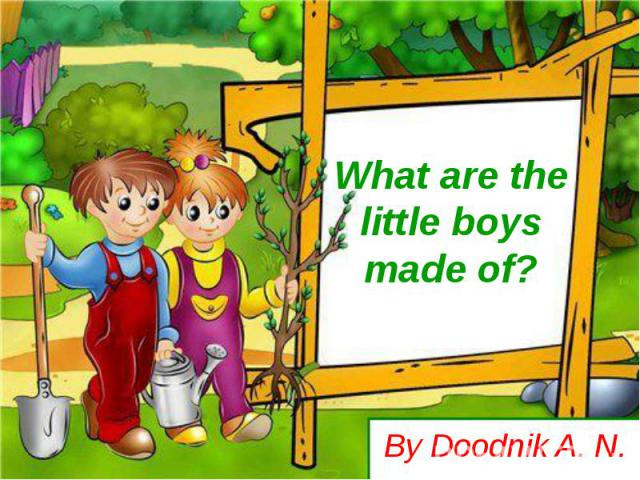 What are the little boys made of? By Doodnik A. N.