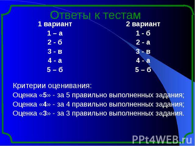 Ответы к тестам