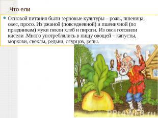 Что ели Основой питания были зерновые культуры – рожь, пшеница, овес, просо. Из