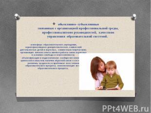 объективно- субъективные связанные с организацией профессиональной среды, профес