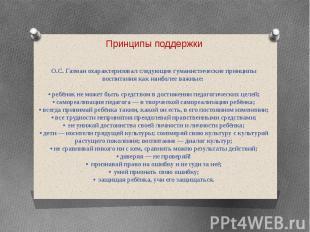 Принципы поддержки О.С. Газман охарактеризовал следующие гуманистические принцип