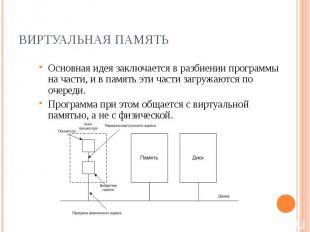 Виртуальная память Основная идея заключается в разбиении программы на части, и в